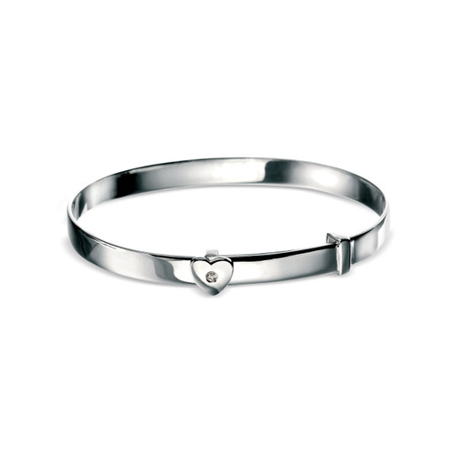 D for Diamond Sterling Silver Heart Bangle