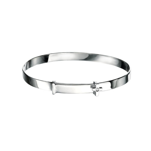 D for Diamond Sterling Silver Cross Bangle