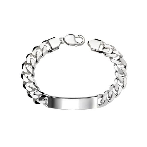 Sterling Silver Heavyweight Curb ID Bracelet  22cm