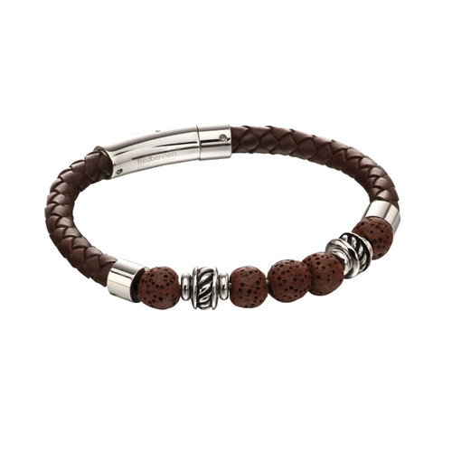 Fred Bennett Brown Lava Bead Leather Bracelet
