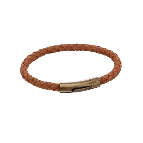 Fred Bennett Stainless Steel Woven Brown Leather Bracelet