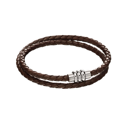 Fred Bennett Double Row Woven Brown Leather Bracelet