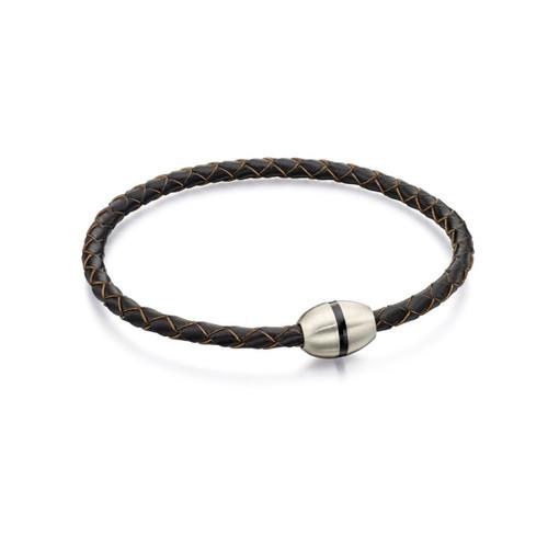 Fred Bennett Stainless Steel Woven Skinny Brown Leather Bracelet