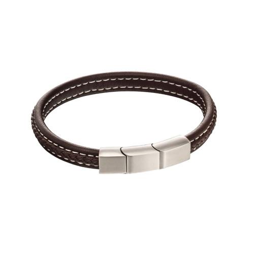Fred Bennett Stainless Steel Plaited Brown Leather Bracelet
