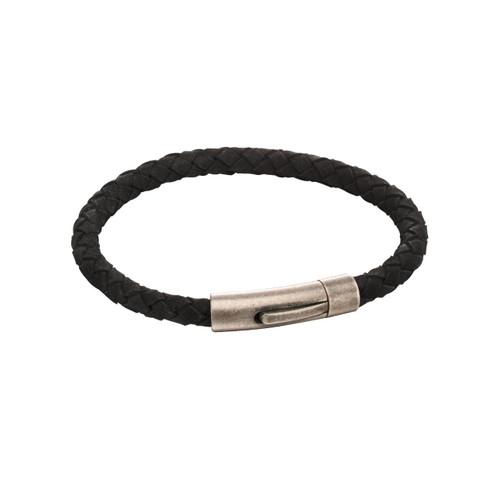 Fred Bennett Stainless Steel Black Suede Bracelet