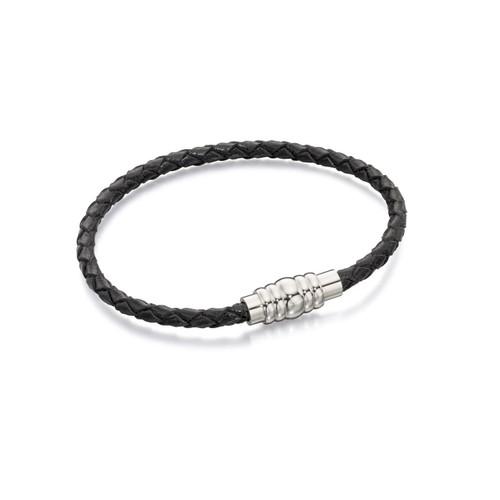 Fred Bennett Stainless Steel Skinny Black Leather Bracelet