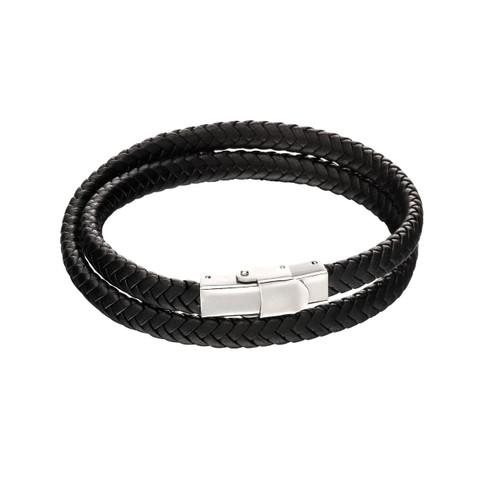 Fred Bennett Stainless Steel Double Row Plaited Black Leather Bracelet