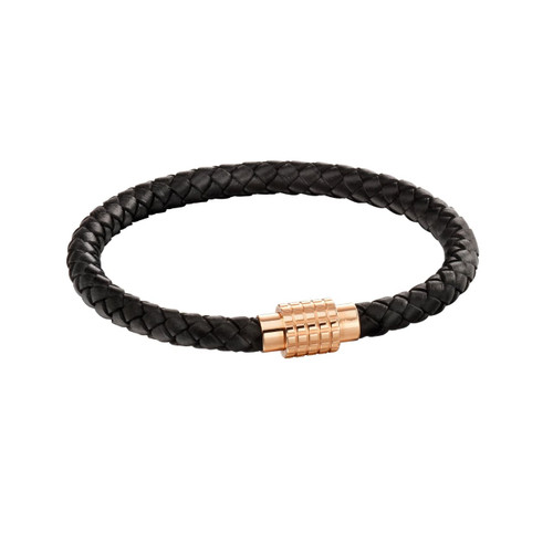 Fred Bennett Rose Gold Plated Stainless Steel Plaited Black Leather Bracelet