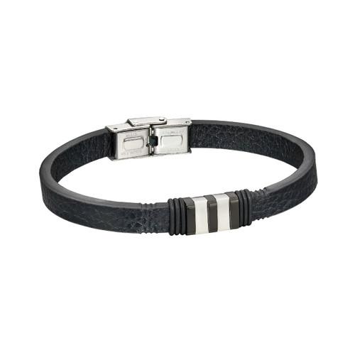 Fred Bennett Stanless Steel Black Leather Bracelet