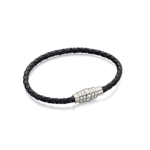 Fred Bennett Stainless Steel Black Braided Leather Bracelet