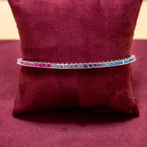 Sterling Silver Cubic Zirconia Rainbow Tennis Bracelet