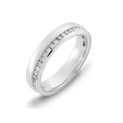 Platinum 0.27ct Brilliant Cut Diamond Off Centre Channel Set Eternity Ring