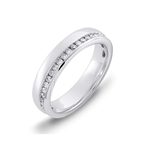 18ct White Gold 0.27ct Brilliant Cut Diamond Off Centre Channel Set Eternity Ring