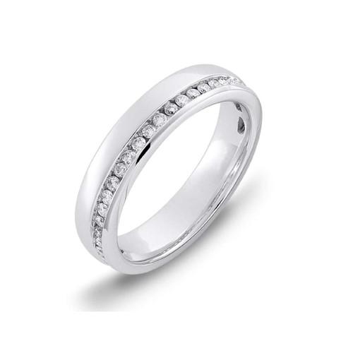 18ct White Gold 0.27ct Brilliant Cut Diamond Off Centre Channel Set Eternity Ring