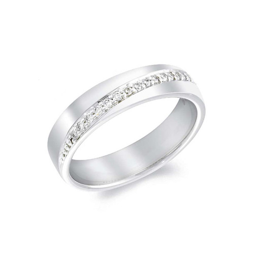 Platinum 0.20ct Brilliant Cut Diamond Diagonally Set Channel Eternity Ring