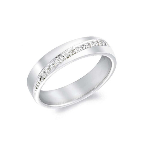 18ct White Gold 0.20ct Brilliant Cut Diamond Diagonally Set Channel Eternity Ring