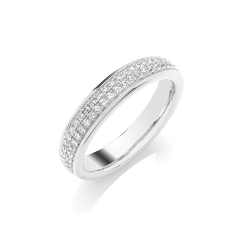 9ct White Gold 0.25ct Brilliant Cut Diamond Two Row Pave Set Half Eternity Ring