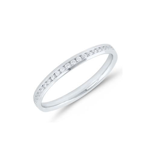 Platinum Brilliant Cut Diamond Channel Set Full Eternity Ring