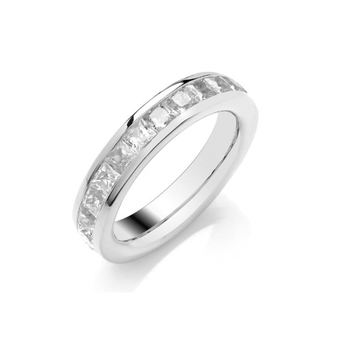 Platinum Princess Cut Diamond Channel Set Full Eternity Ring