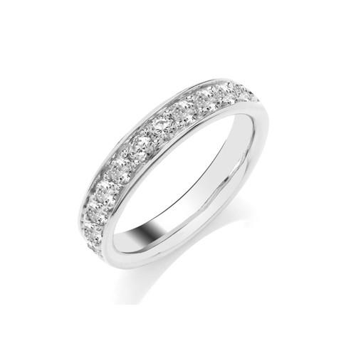 Platinum Brilliant Cut Diamond Pave Set Half Eternity Ring