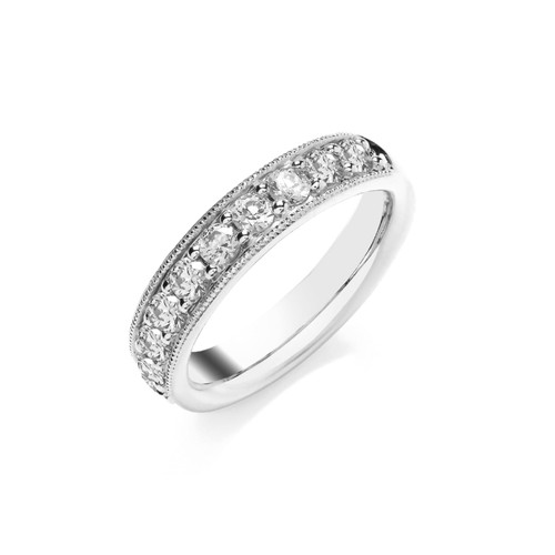 Platinum Brilliant Cut Diamond Pave Set Half Eternity Ring with Milgrain Edge