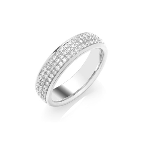 Platinum 0.35ct Brilliant Cut Diamond Three Row Pave Set Half Eternity Ring