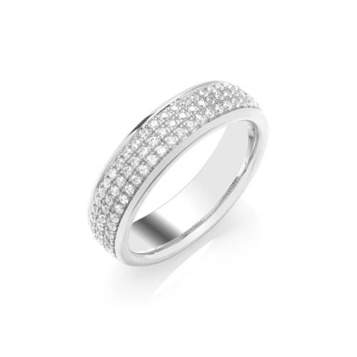 18ct White Gold 0.35ct Brilliant Cut Diamond Three Row Pave Set Half Eternity Ring
