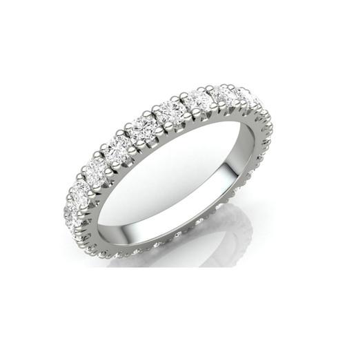 9ct White Gold 1.00ct Brilliant Cut Diamond Claw Set Full Eternity Ring