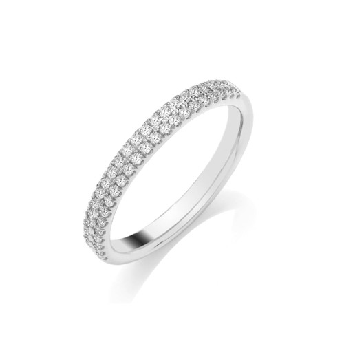9ct White Gold Brilliant Cut Diamond Two Row Claw Set Half Eternity Ring