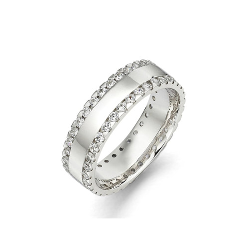 18ct White Gold 1.35ct Brilliant Cut Diamond Two Row Claw Set Full Eternity Ring