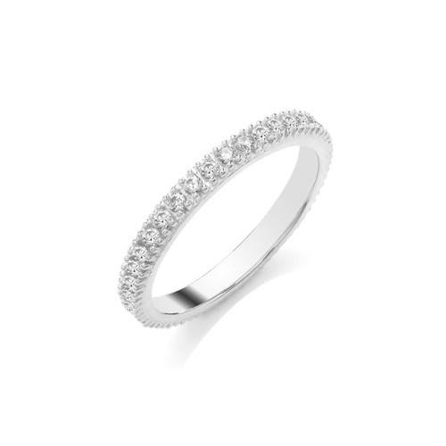 9ct White Gold 0.50ct Brilliant Cut Diamond Claw Set Full Eternity Ring