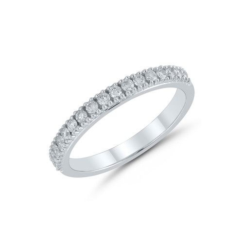 9ct White Gold 0.25ct Brilliant Cut Diamond Claw Set Half Eternity Ring
