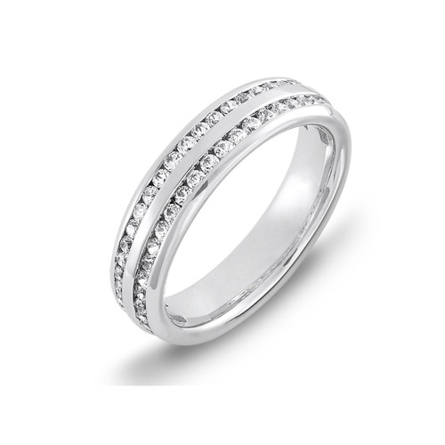 18ct White Gold 0.50ct Brilliant Cut Diamond Two Row Channel Set 60% Eternity Ring