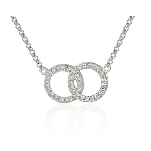 9ct White Gold 0.10ct Diamond Double Circle Necklace