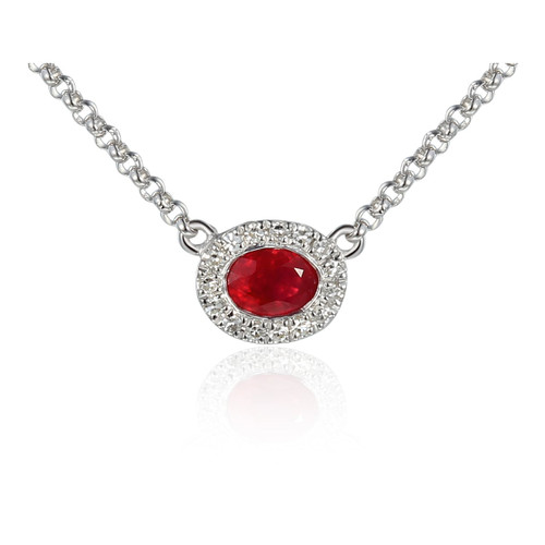 9ct White Gold Diamond Oval Ruby Necklace