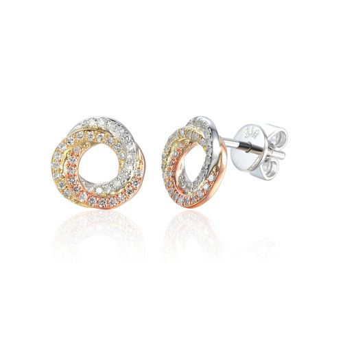 9ct Yellow, White and Rose Gold Diamond Knot Earrings