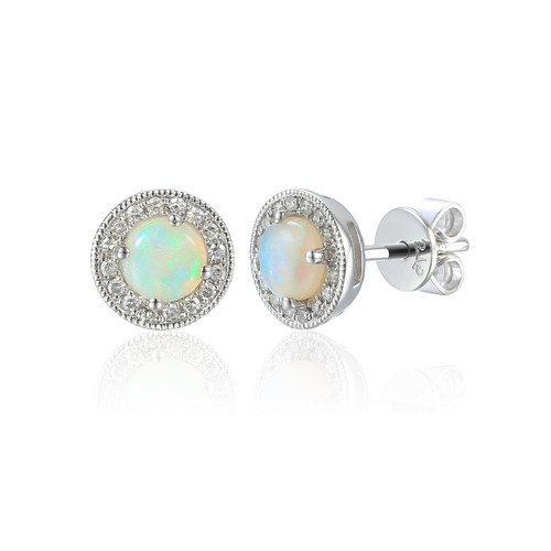 9ct White Gold Opal and Diamond Halo Stud Earrings