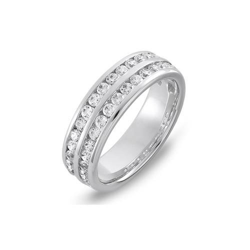 Platinum 1.60ct Brilliant Cut Diamond Two Row Channel Set 60% Eternity Ring