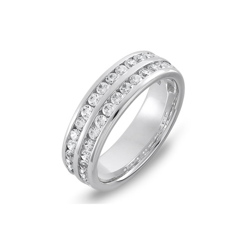 9ct White Gold 1.60ct Brilliant Cut Diamond Two Row Channel Set 60% Eternity Ring