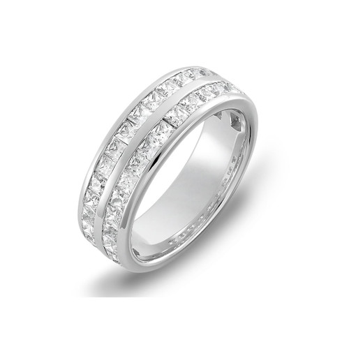 9ct White Gold 1.75ct Princess Cut Diamond Two Row Channel Set 60% Eternity Ring