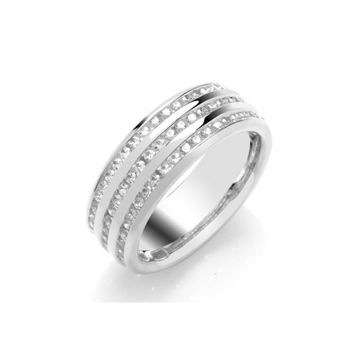 9ct White Gold 0.80ct Brilliant Cut Diamond Three Row Channel Set 60% Eternity Ring