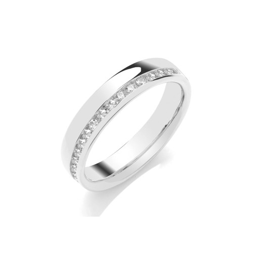 9ct White Gold Brilliant Cut Diamond Off Centre Channel Set Half Eternity Ring
