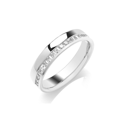 18ct White Gold Princess Cut Diamond Off Centre Channel Set Half Eternity Ring