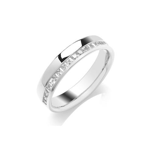 9ct White Gold Princess Cut Diamond Off Centre Channel Set Half Eternity Ring