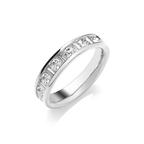 Platinum Brilliant & Baguette Cut Diamond Channel Set Half Eternity Ring