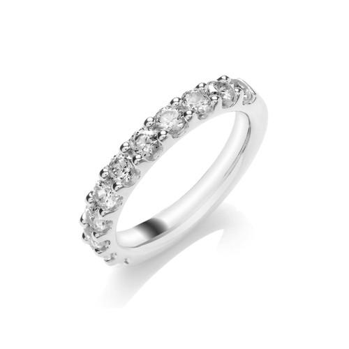 9ct White Gold Brilliant Cut Diamond Claw Set Half Eternity Ring
