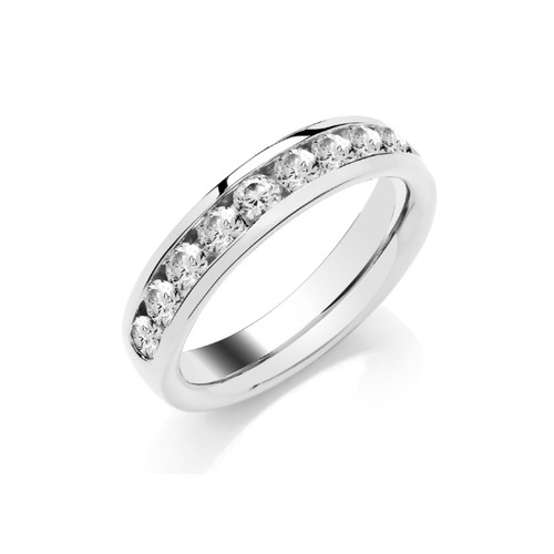 Platinum Brilliant Cut Diamond Channel Set Half Eternity Ring