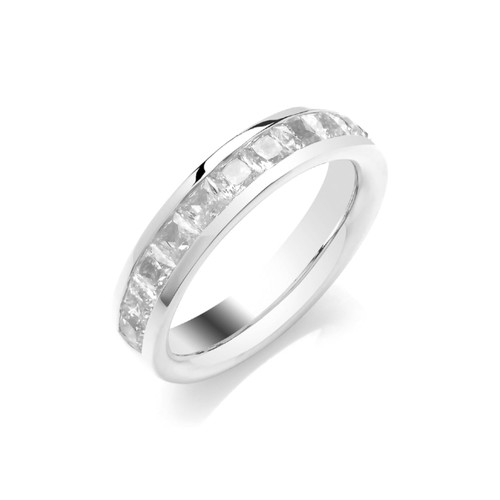18ct White Gold Princess Cut Diamond Channel Set Half Eternity Ring