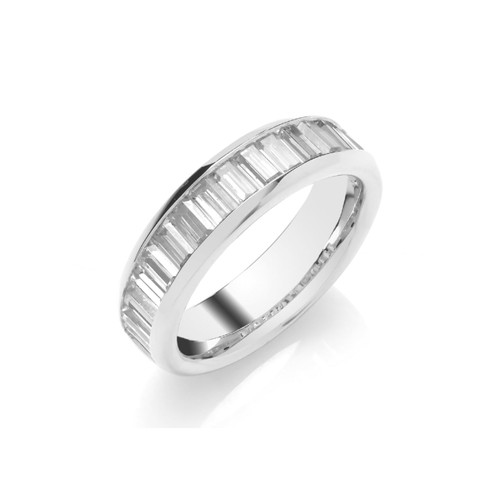 18ct White Gold Baguette Cut Diamond Channel Set Half Eternity Ring