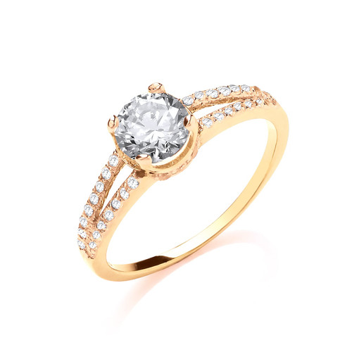 9ct Yellow Gold Cubic Ziconia Split Shoulder Single Stone Ring